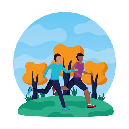two men practicing running activity in the park vector illustration Illusztráció