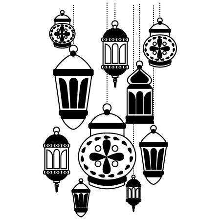 hanging lanterns decoration on white background vector illustration 스톡 콘텐츠 - 130152657