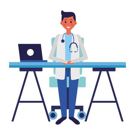 medical doctor in the office with laptopvector illustration Ilustração