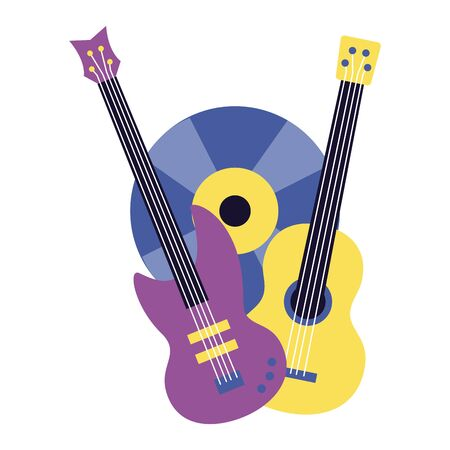electric and classical guitar vinyl music colorful background vector illustration