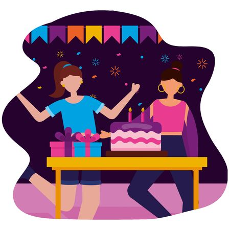 women party cake gifts birthday celebration vector illustration