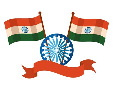 indian flags with ashoka chakra independence day vector illustration design
