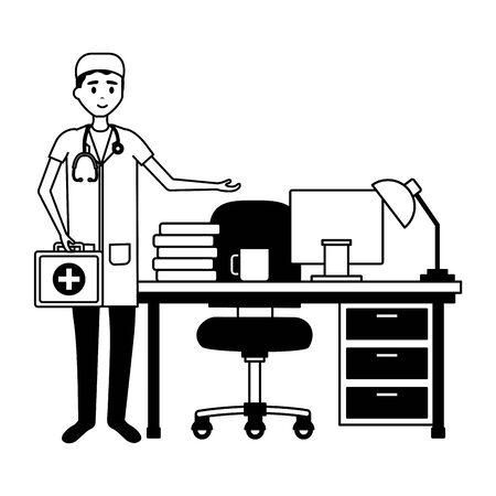 doctor man office consultation desk computer lamp books vector illustration Illustration