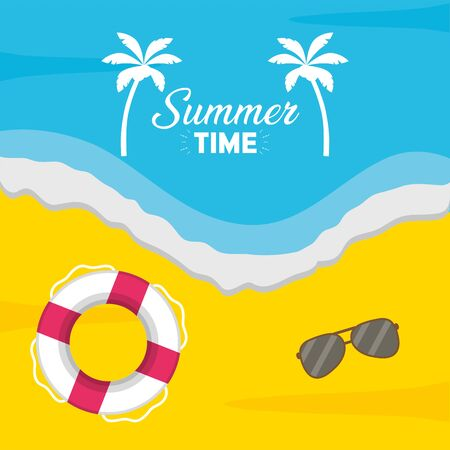 summer time holiday beach poster lifebuoy and sunglasses top view
