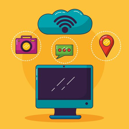 computer cloud storage camera chat location wifi free connection vector illustration Иллюстрация