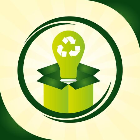 box light bulb recycable eco friendly vector illustration