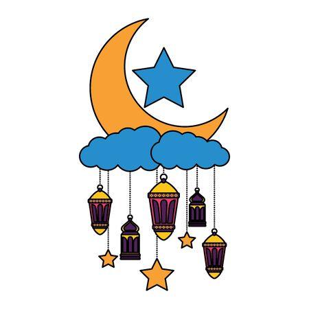 hanging lanterns moon stars decoration on white background vector illustration
