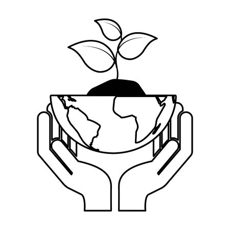 hands with planet plant eco friendly environment vector illustration