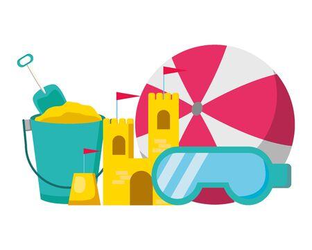Cartel de vacaciones de verano, castillo de arena, balde, gafas de bola, ilustración vectorial