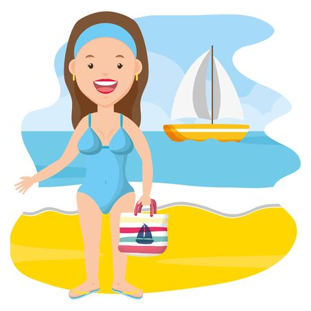 summer time woman in swimsuit in the beach vector illustration