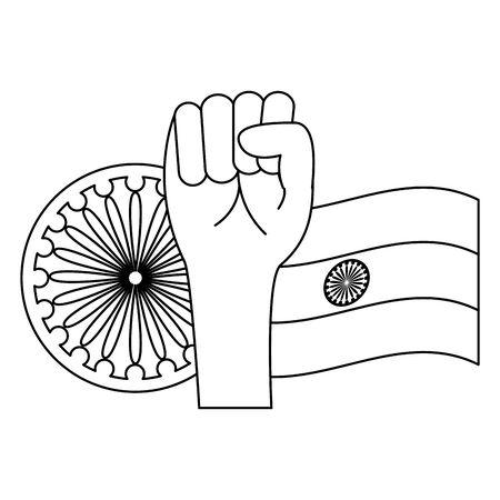 indian flag with map and ashoka chakra vector illustration design