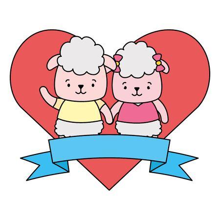 cute couple sheep animals heart love ribbon vector illustration
