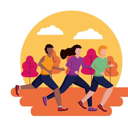 men and woman park running activity vector illustration