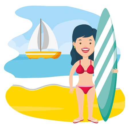 summer time woman holding srufboard in the beach vector illustration  イラスト・ベクター素材