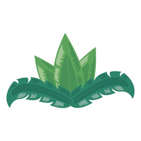 tropical leaves foliage arrangement on white background vector illustration 向量圖像