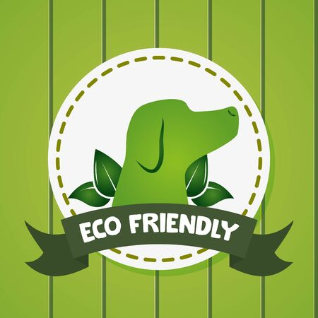 eco friendly dog nature leaves vector illustration