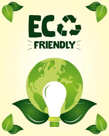 eco friendly light bulb planet leaves nature vector illustration Ilustracja