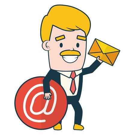 businessman with envelope send email vector illustration