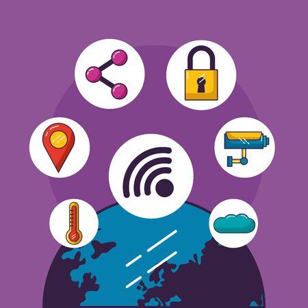 monde internet surveillance cloud stockage wifi connexion gratuite illustration vectorielle
