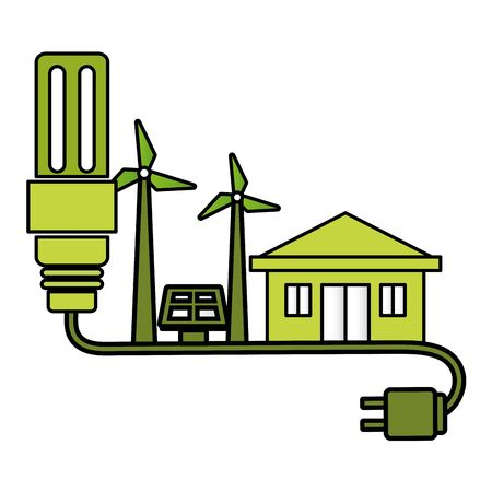 eco friendly environment bulb plug cable house solar panel turbine wind vector illustration