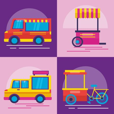 food truck banners outdoor service vector illustration