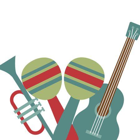 guitar maraca and trumpet festival music vector illustration Illustration
