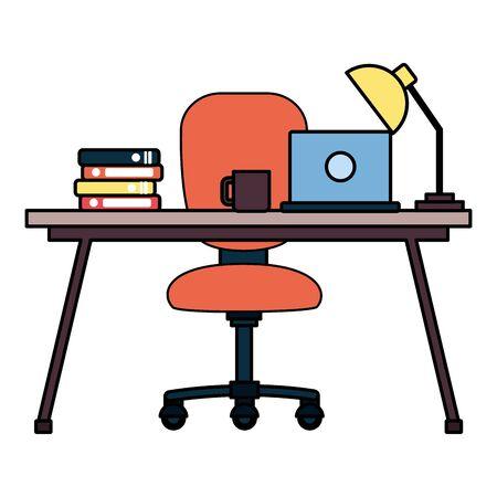 desk chair laptop books coffee cup lamp workplace office furniture vector illustration Ilustração