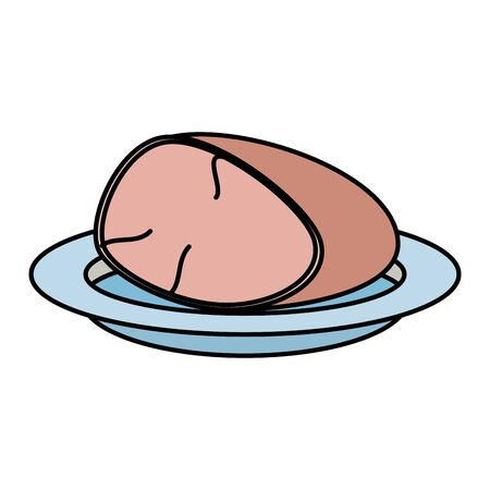 dish with ham piece vector illustration design Zdjęcie Seryjne - 130150864