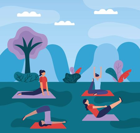 women yoga park outdoor nature plants vector illustration