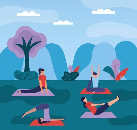 women yoga park outdoor nature plants vector illustration