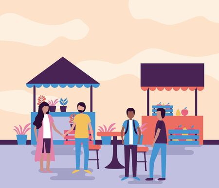 couple holding hands and men talking street activities outdoors vector illustration