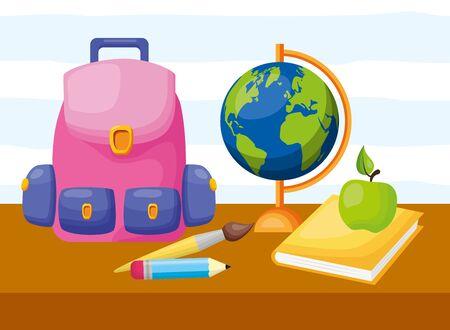 mochila escuela globo manzana libro lápiz cepillo regreso a clases ilustración vectorial Ilustración de vector