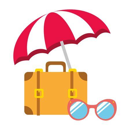 beach vacations umbrella suitcase sunglasses  vector illustration Ilustracja