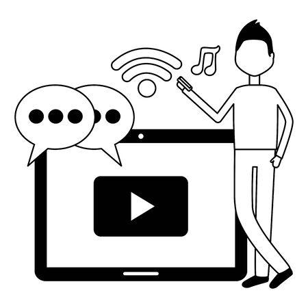 man tablet social media chat music mobile video vector illustration