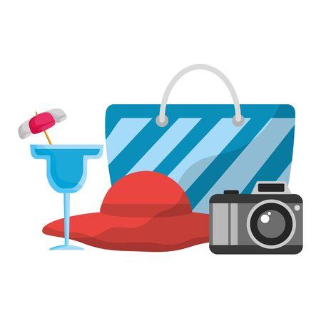 summer time holiday poster cocktail hat handbag camera vector illustration