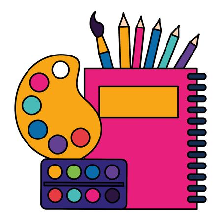 notebook artistic palette watercolor paintbrush back to school vector illustration