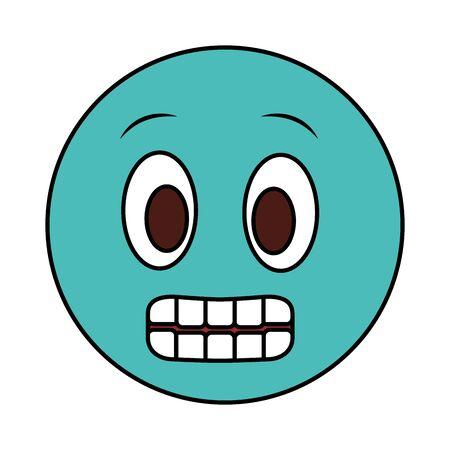 smiley emoticon face expression grimacing vector illustration