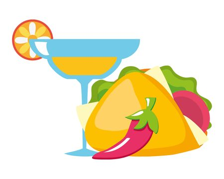 margarita cocktail cup drink with chili peppers and taco vector illustration design