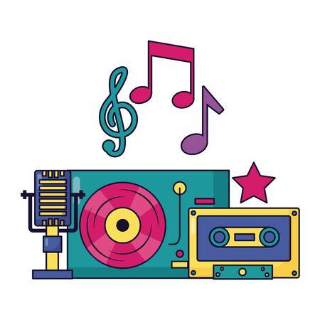 turntable vinyl microphone cassette festival music vector illustration Illustration