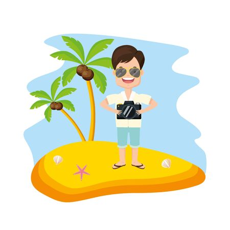 man with camera in the beach vacations summer time vector illustration Foto de archivo - 130153992