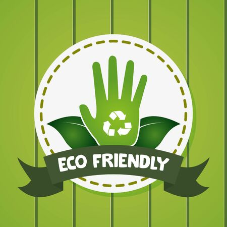 hand world leaves symbol eco friendly environment vector illustration Иллюстрация