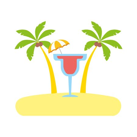 beach vacations cocktail with umbrella palms vector illustration Ilustração