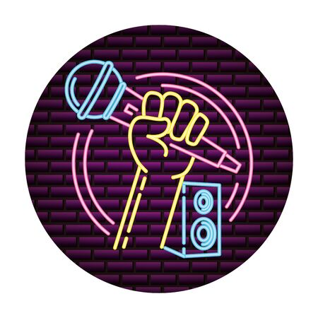 microphone and speakers music neon vector illustration Фото со стока - 130155175