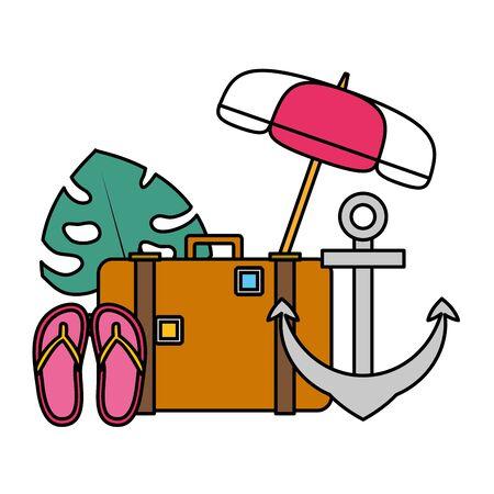 summer time holiday suitcase anchor flip flops umbrella leaf vector illustration Illusztráció