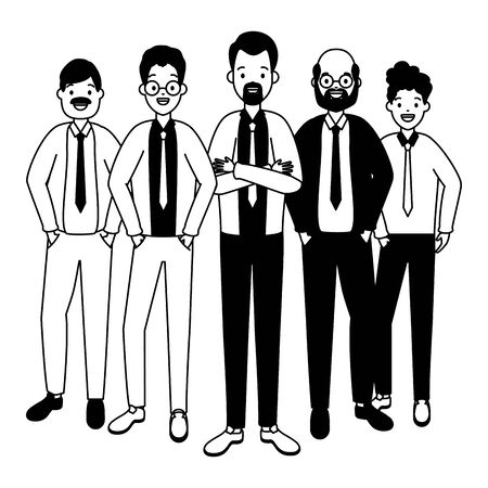 two men diversity characters vector illustration design