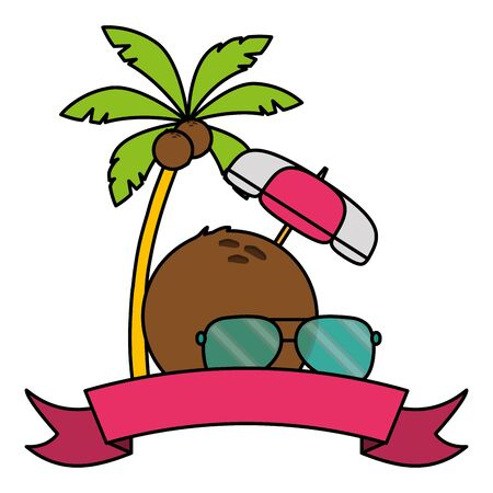summer time holiday poster coconut palm sunglasses and umbrella ribbon vector illustration