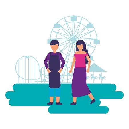people festival fun fair event amusement park vector illustration
