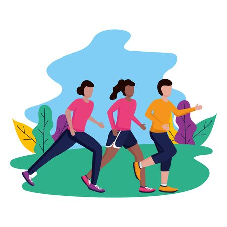man and women in city park running activity vector illustration Ilustração