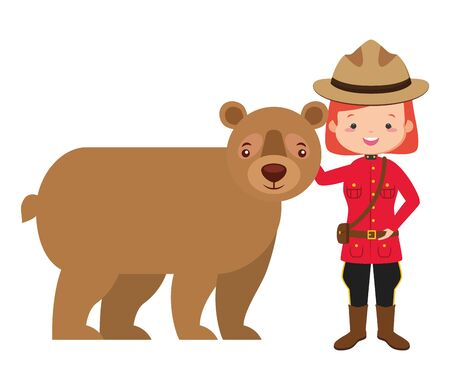 canadian police mounted woman and bear happy canada day vector illustration Stock Illustratie
