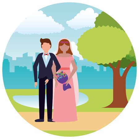 bride and groom wedding day vector illustration